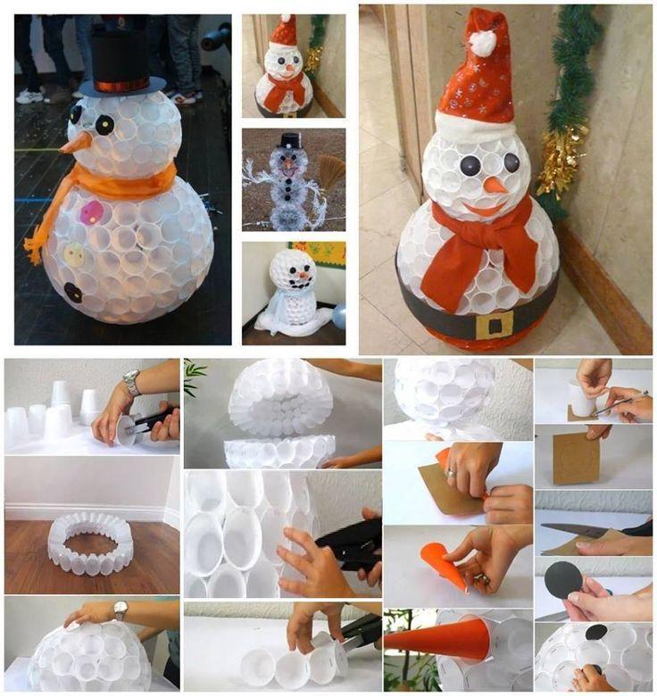 pupazzo di neve con bicchieri di plastica FATTI!!!