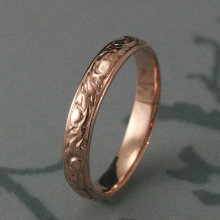 Awesome rose gold Solid Rose Gold Going Barouque Wedding Red Gold Swirl and Leaf Design Ring Custom made to YOUR size Etsy
