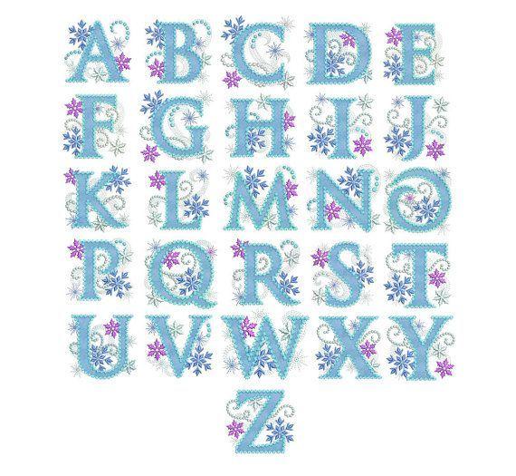 Alfabeto de la princesa de hielo congelado por EmbroideryLand:
