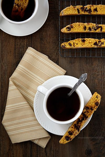 Pumpkin Chocolate Chip Biscotti from Chocolate Moosey