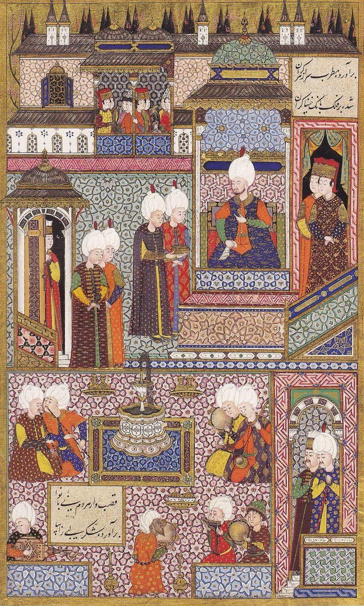 Kanuni, Şehzade Bayezid ve Cihangir'in sünnet düğününde. Arifî, Süleymannâme, 1558. TSMK H 1517, y. 412a. Has-bağçede Ayş u Tarab, Halil İnalcık, YKY, Sayfa 194.