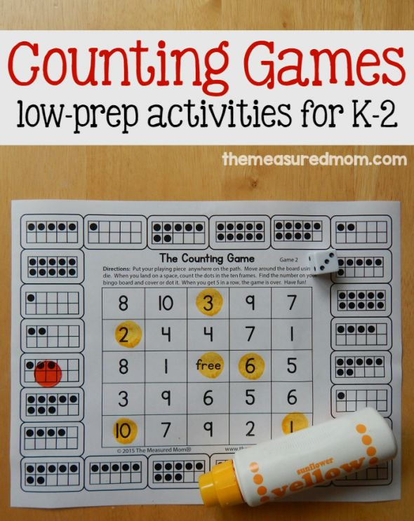 Free counting games for K-2 ~ Just Print & Play! | The Measured Mom