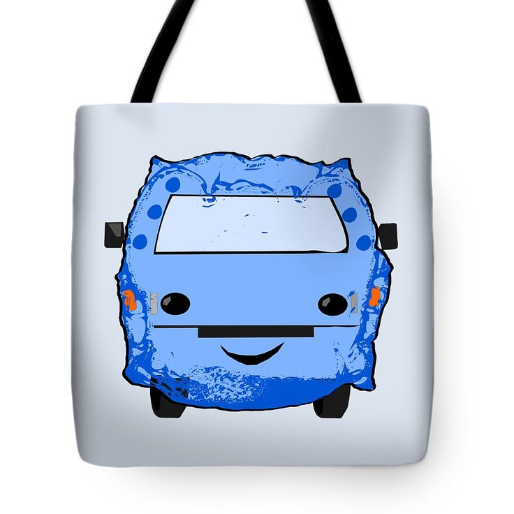 Poopmobile In Blue Tote Bag by Sverre Andreas Fekjan.  The tote bag is machine washable, available in three different sizes, and includes a black strap for easy carrying on your shoulder.  All totes are available for worldwide shipping and include a money-back guarantee.
