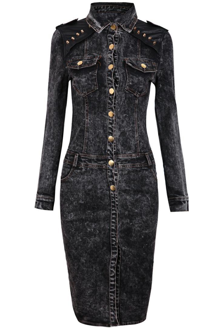 Black Contrast Leather Rivet Split Denim Dress - Sheinside.com