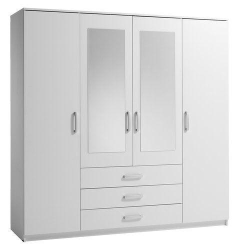 Garderobekast VINDERUP 4 deur/3 lade wit | JYSK