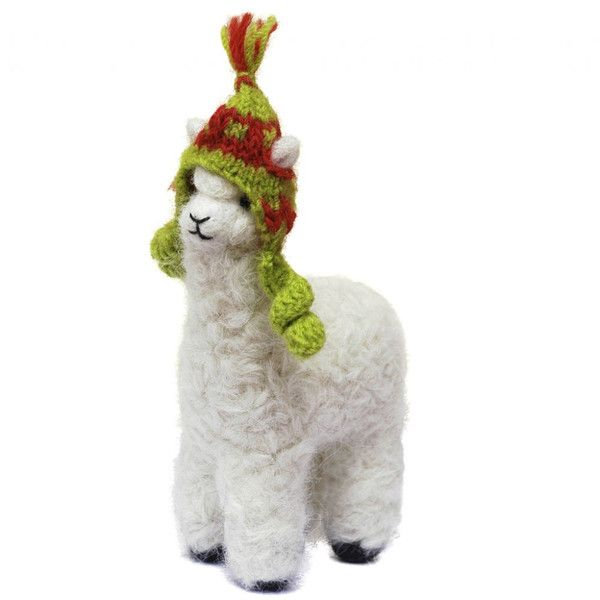 "CUTE! This decorative miniature Felted Alpaca Ornament is adorable. The optional little Hat (""chullo"") even has slots for the ears! Hand made from true artisans. Brings charm and delight to any room."