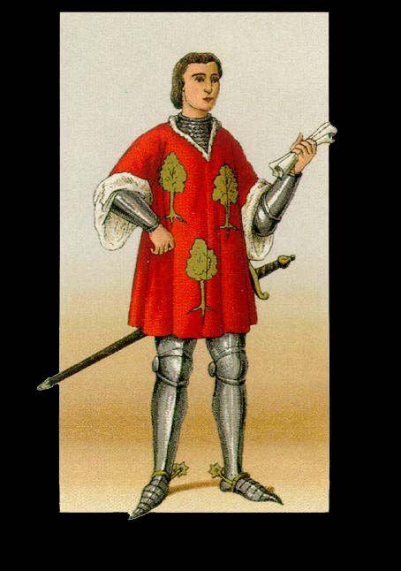HOQUETONS Jubon sin mangas de color bermellón, rojo y verde, con adornos de oro y penacho de la misma tonalidad.Estan presentes en el traje de la guardia de ballesteros, 1499