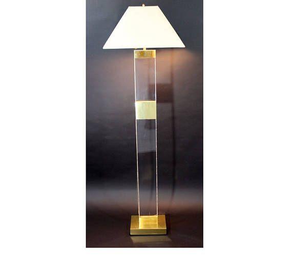 Mid Century Modern Tall Brass Lucite Floor Lamp Karl Floor