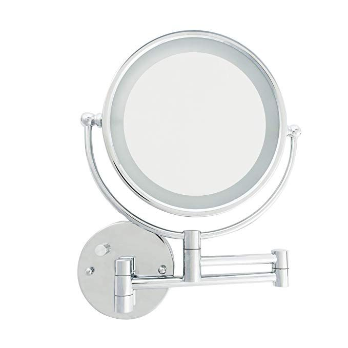 Danielle Creations Chrome Led Lighted Makeup Mirror With Wall