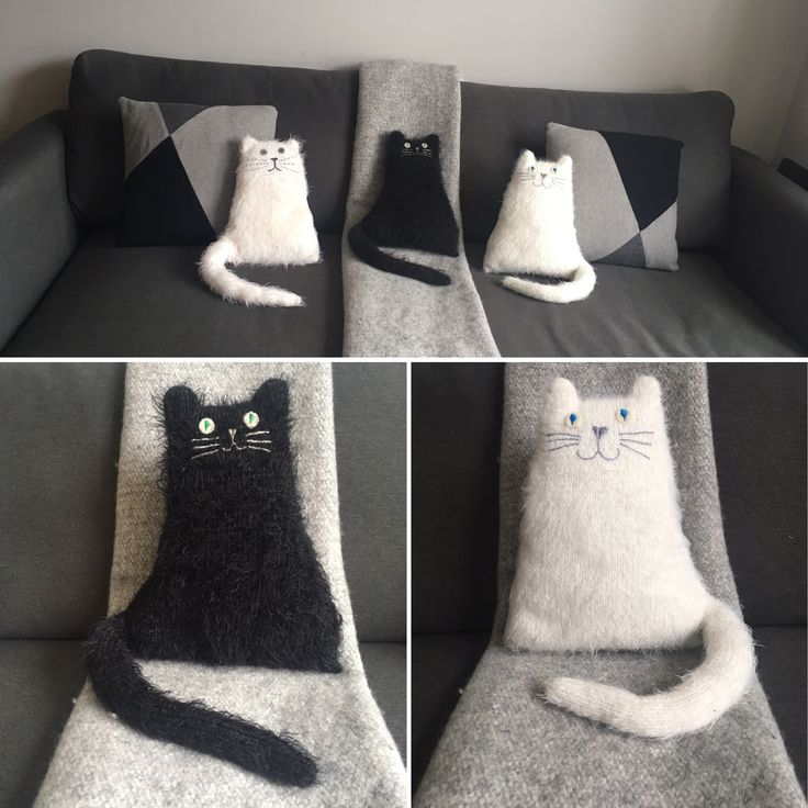 Monochrome fluffy cat cushions - perfect sofa friends. All hand knitted by Three Woolly Owls - available on Etsy