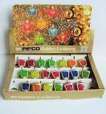 vintage pifco christmas tree lights golden lanterns 20 shades box only - Antique Christmas Lights
