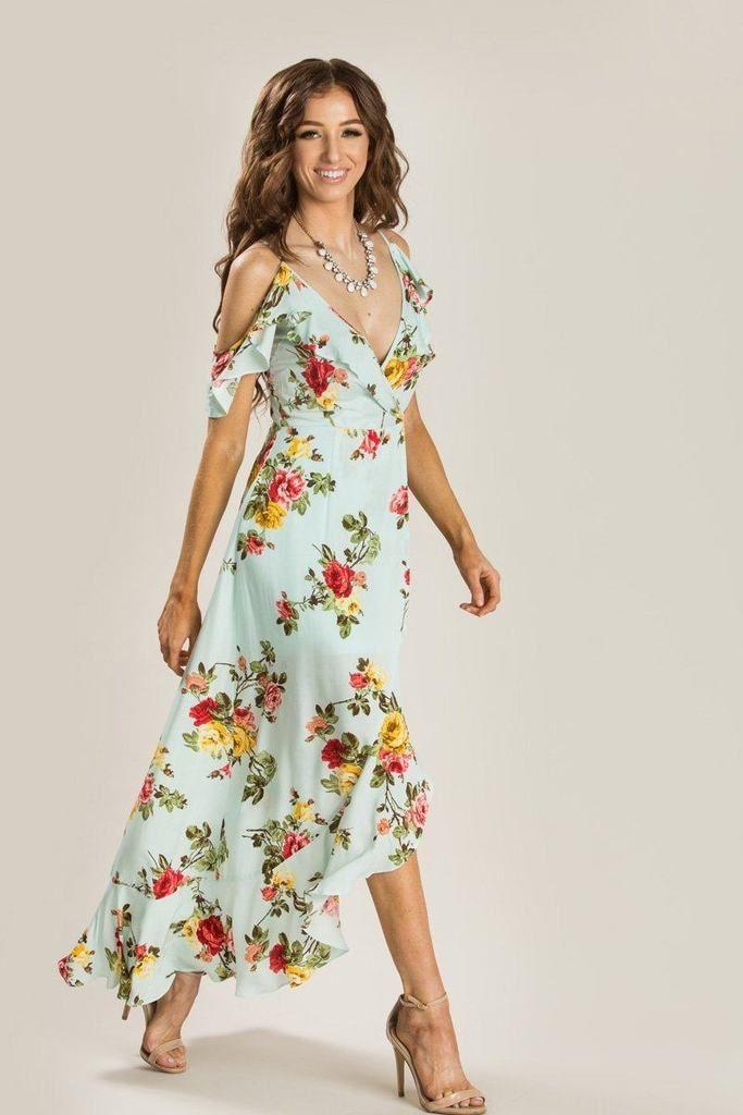 64090347cb0 Shop the Elisa Mint Floral Maxi Dress - boutique clothing featuring fresh