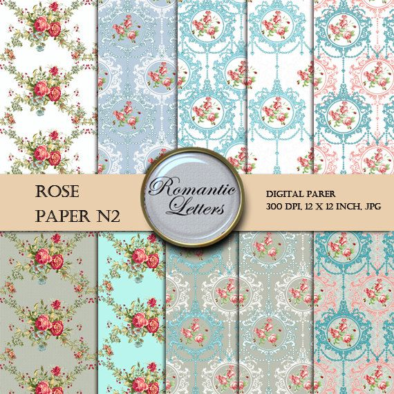 Digital Scrapbook Paper  Pack ROSE Floral Shabby Chic digital backdrop  flowers background