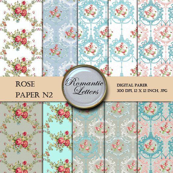 Digital Scrapbook Paper  Pack ROSE Floral Shabby Chic digital backdrop  flowers background