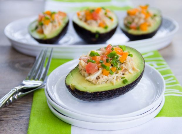 Crabmeat Salad Stuffed AvocadosSalad Stuffed, Recipe, Crabs Meat, Avocado Chicken Salad, Tuna Salad, Crabmeat Salad, Stuffed Avocado, Shredded Chicken, Appetizers