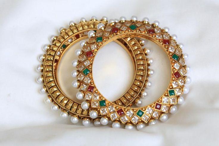 Antique Polki Bangles - AristaBeads Jewelry - 5