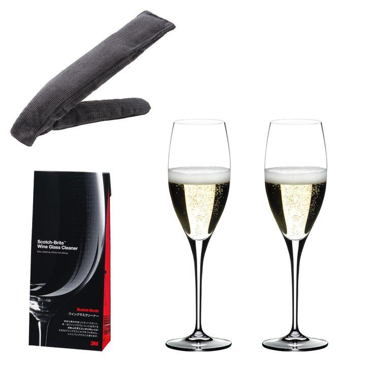 <ハート・トゥ・ハート> シャンパーニュ グラス & スコッチ・ブライト ワイングラスクリーナー(グラス2個入)