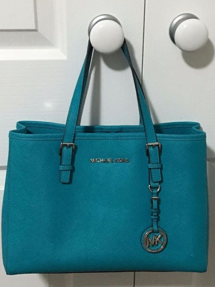 MICHAEL KORS Jet Set Travel Tote Tile Blue leather bag RRP $399