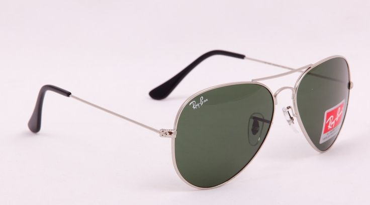 Очки Ray-Ban Aviator RB 3025 серебристая оправа, зеленые поляризованные стекла #19025