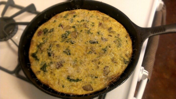 Kale, red potato and onion frittata!! :-)