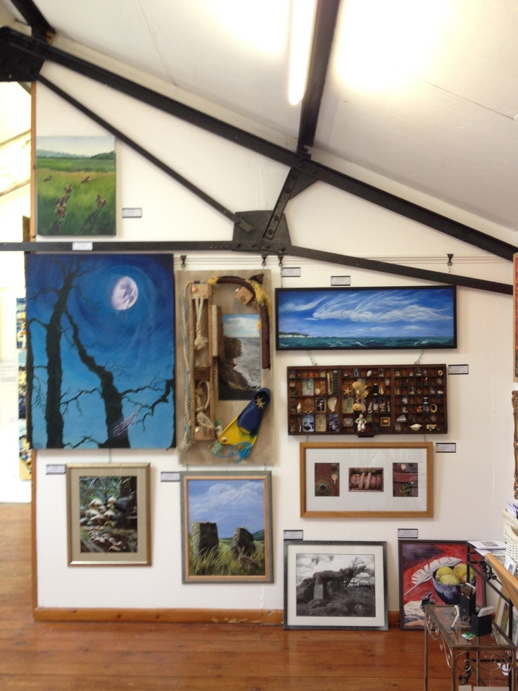 New artists' work in the Attic Gallery in Broadwindsor, near Beaminster. June 2013