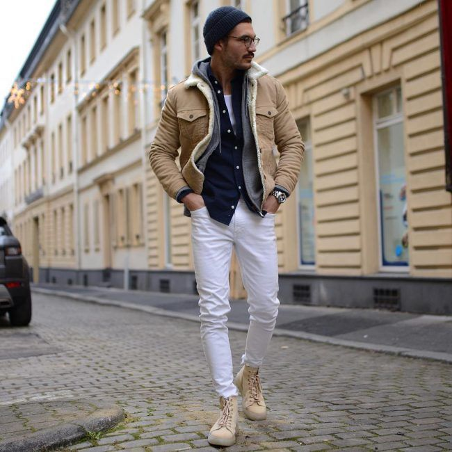 men white jeans winter outfit