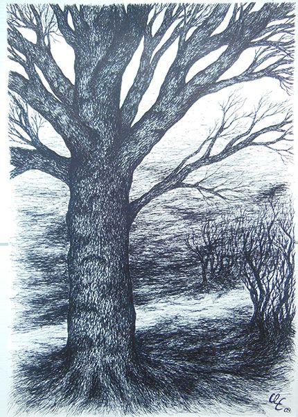 Mehr Zeichnungen unter www.bluecoconuts.... #Baum #Zeichnung #Skizze #Winter