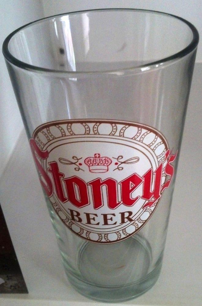 "Stoney's Beer Pint New Glass Rare logo vintage history 5 3/4"" Tall x 3 1/4"""