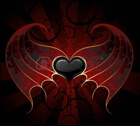 gothic zwarte hart van een vampier met de huid, vliezige vleugels, de donkere lichtgevende achtergrond. Stockfoto - 29120555