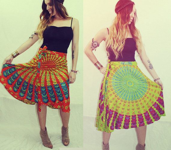 Mini Wrap Skirt Peacock Hippie Skirt CoverUp Boho by Cloud9Jewels