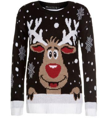 Mela Black Reindeer Christmas Jumper