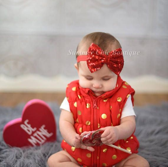 Baby Girl Headband Baby Headband Headbands for Babies Red and White Pearl and Rhinestone Heart Lace Headband Baby Girl Headbands