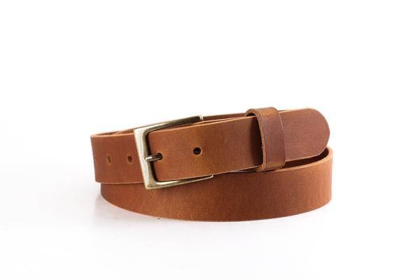 Tan Full Grain Buffalo Leather 2-Hole Jeans Belt