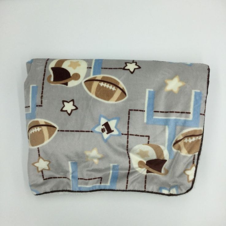 SL Home RN 119741 Football Baby Blanket Velour Sherpa Gray Brown Blue Stars #SLHome