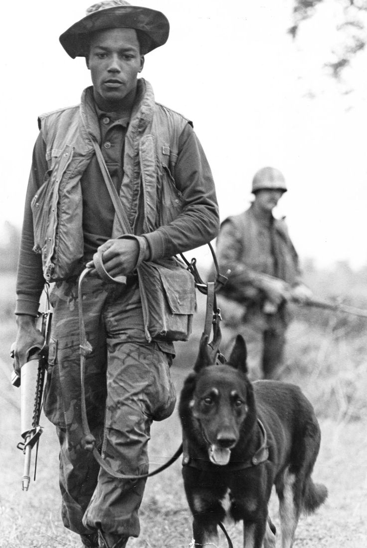 """Cpl. Ural Hunter and his sentry dog """"Fritz"""" take the point position as Combined Action Platoon 2-3-3 begins another day of patrolling near Vieh Hao. Cpl. Hunter has been working as point man with several CAP units for the last eight months. (USMC Photo by Sgt. Roger A. Paul) 1971"""