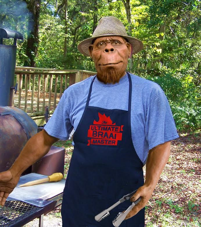 Harry the Hominid the ultimate braai master. At Maropeng in the Cradle of Humankind, South Africa.
