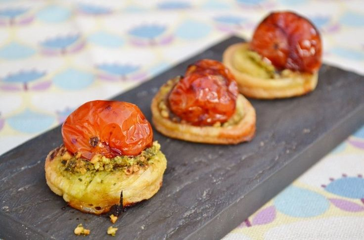 Balsamic tomato pesto canap s great british chefs for Puff pastry canape ideas