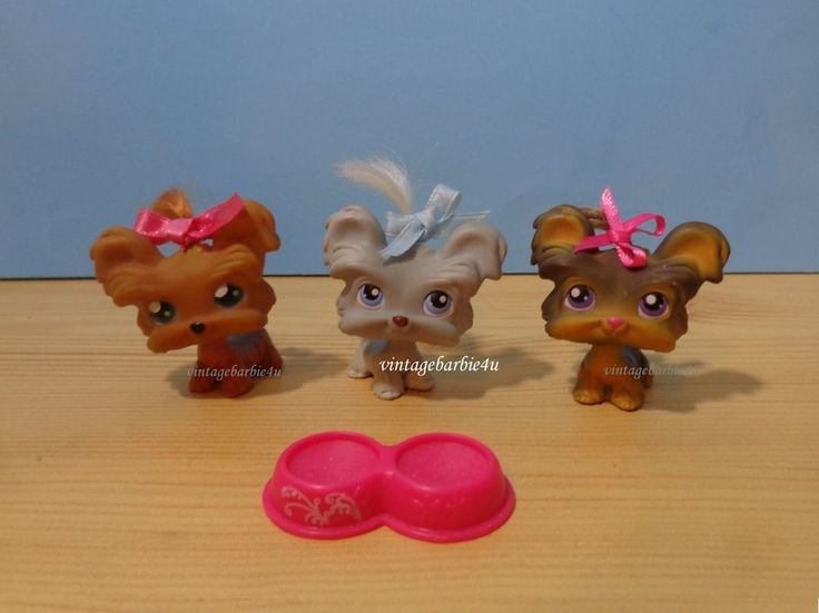 Littlest Pet Shop LPS Yorkie Teacup Shih Tzu Dog Lot Real Hair #6 #227 #398 #Hasbro