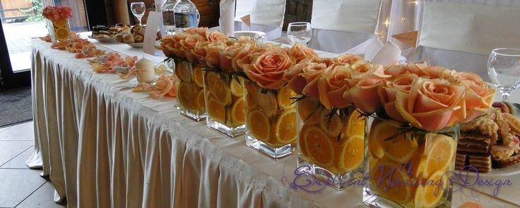 esküvői dekoráció, narancssárga esküvői dekoráció