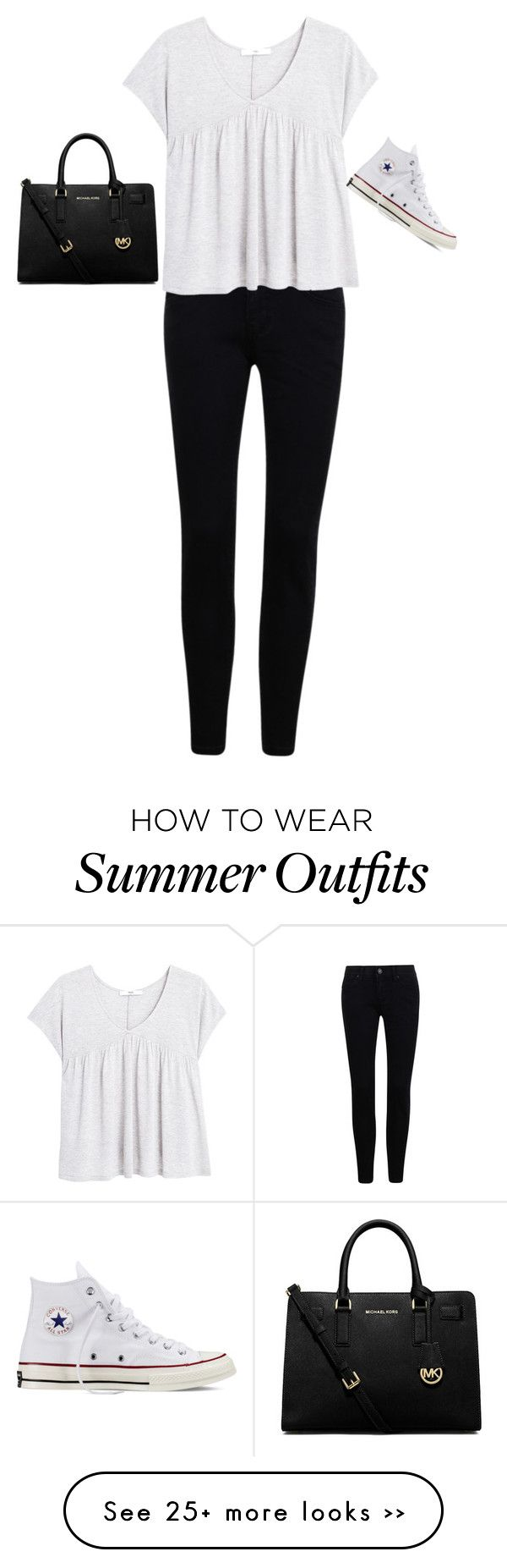 """""""Casual Black and White Summer Outfit"""" by aecheccone on Polyvore featuring moda, MANGO, MICHAEL Michael Kors e Converse"""