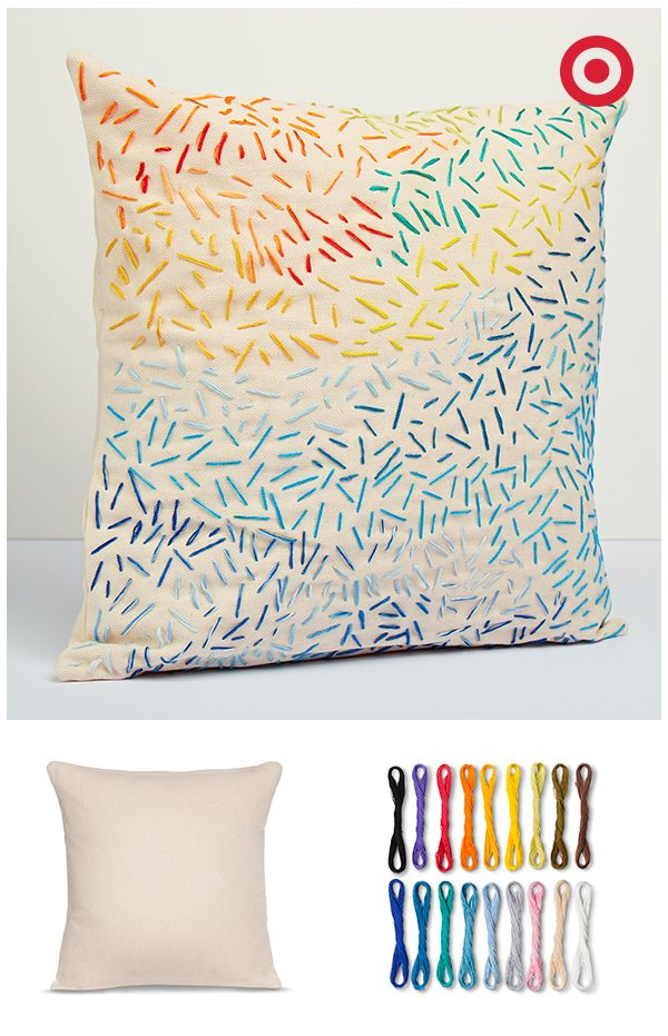 Creating a one-of-a-kind throw pillow is as easy as can be with Hand Made Modern DIY craft supplies. Start with a plain canvas square pillow, and then add stitched details using the cotton floss set. Why not design a pair of pillows for your sofa or bed?