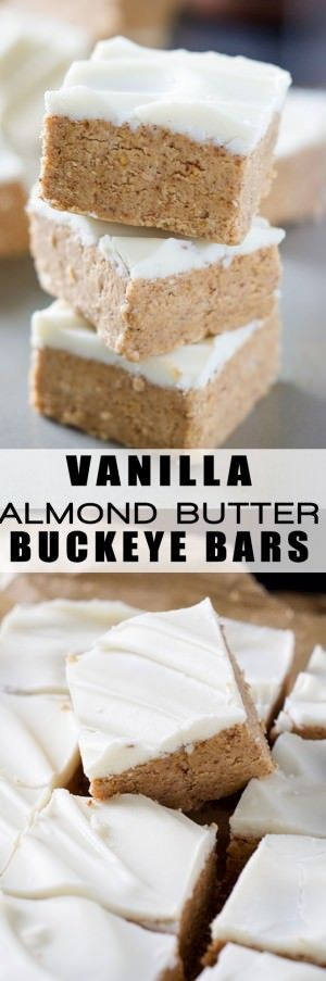An update to the classic recipe, Vanilla Almond Butter Buckeye Bars are filled with creamy almond butter and coated in a creamy white chocolate coating! The hardest part is waiting for them to chill!
