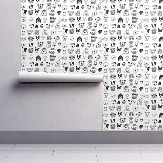 Doodle Dogs Wallpaper Black And White Dogs By Etsy Self Adhesive Wallpaper Black And White Dog Dog Wallpaper