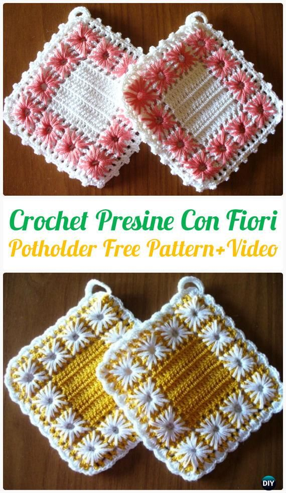Crochet Presine Con Fiori Potholder Free Pattern Video - Crochet Pot Holder Hotpad Free Patterns