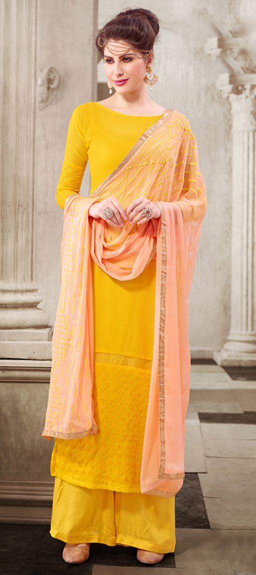 30p plus 8 p 447112: Yellow color family unstitched Party Wear Salwar Kameez .