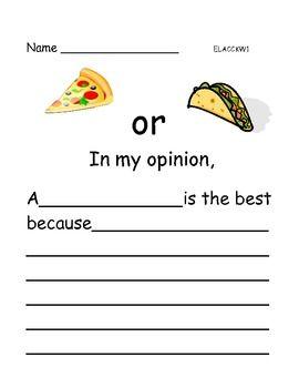 Opinion Writing: Favorite Food  Enjoy writing!