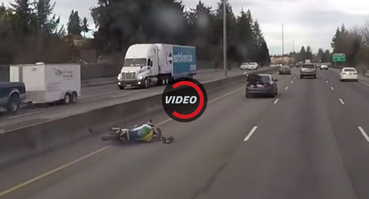 Motorcyclist Rear-Ends Car At High Speed Amazingly Ends Up Sitting On The Trunk