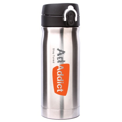 """AdNArt-v 796  -  Vacuum insulated tumbler        SUPER THERMO!      """"KEEPS YOUR COFFEE HOT FOR 6~8 HOURS""""      FLIP LID  http://www.creatchmanpromo.ca/"""