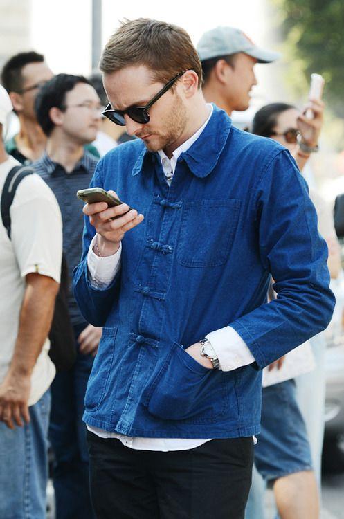Indigo work jacket with duffle fastening details! On point!
