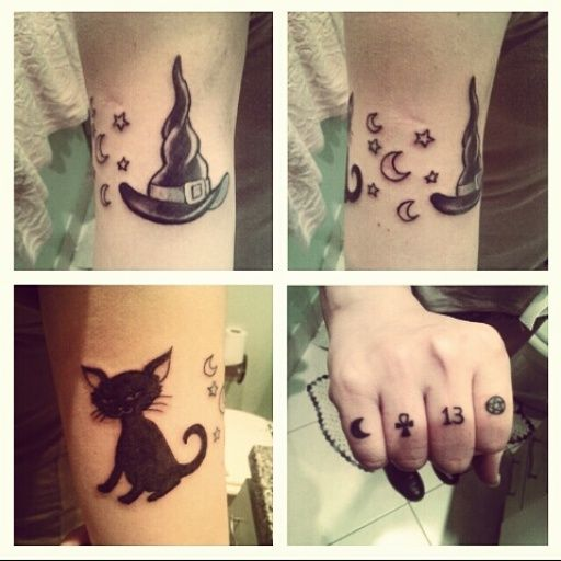 Black Tiny Bat Tattoo On Finger: Tattoos: Witch Hat, Black Cat, Pentacle, 13, Wicca, Ankh